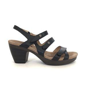 Romika Nancy Black Open Toe Leather Sandals